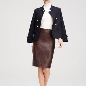 Ann Taylor Brown Vegan Leather Pencil Skirt 12